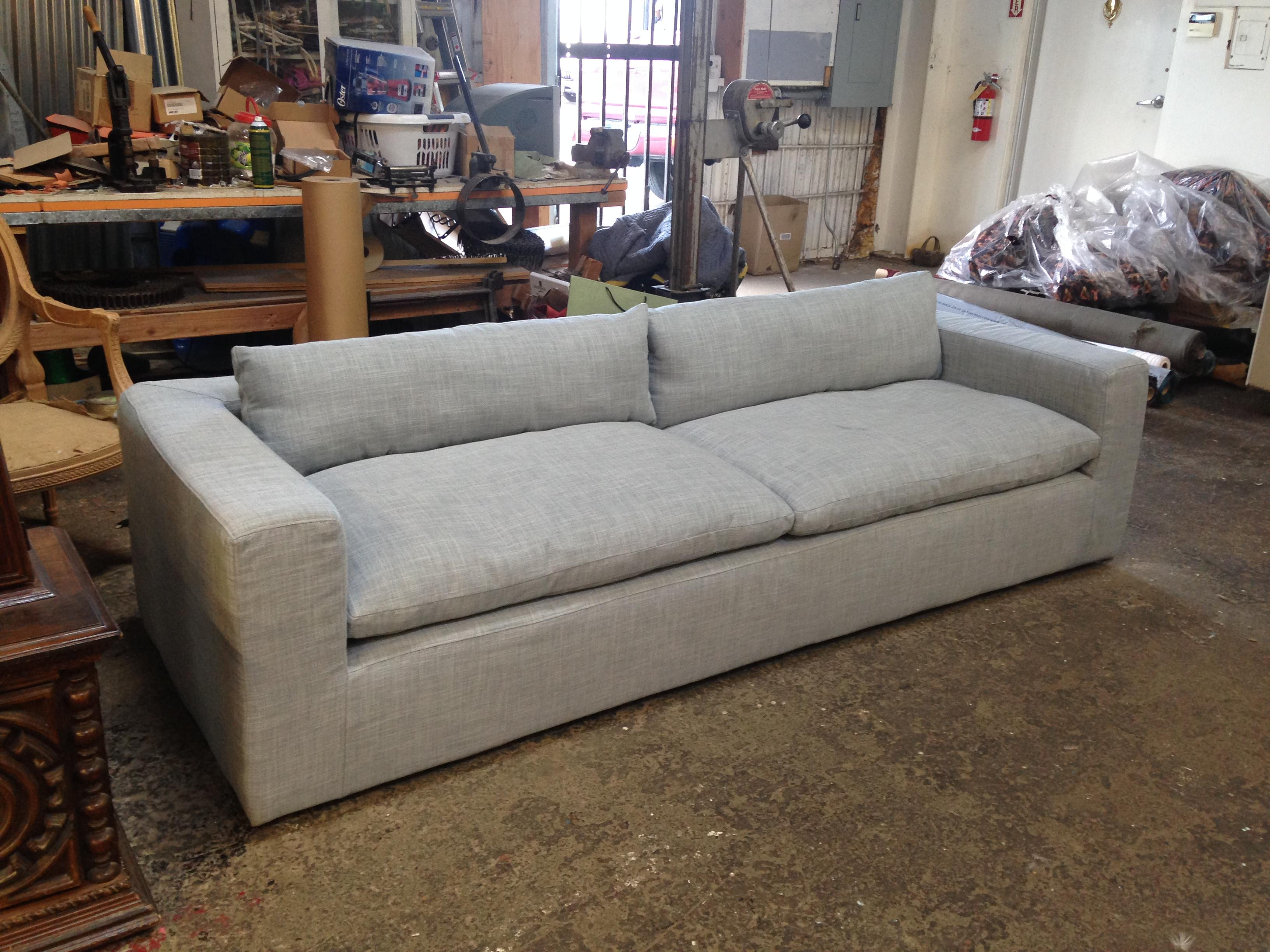 petite belgian track arm slipcovered sofa dillards pillows reupholstered restoration hardware cloud this from is upholstered in zoffany s anoushka plains fabric haze