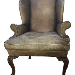 Leather Wing Chairs Teal Kitchen Vintage Used Wingback Chairish 19th Century English Chair For Sale