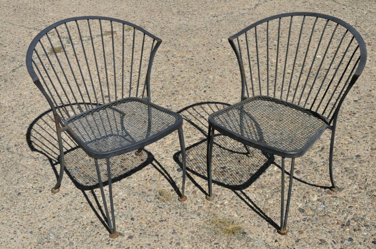 mid century modern woodard pinecrest wrought iron patio garden chairs a pair