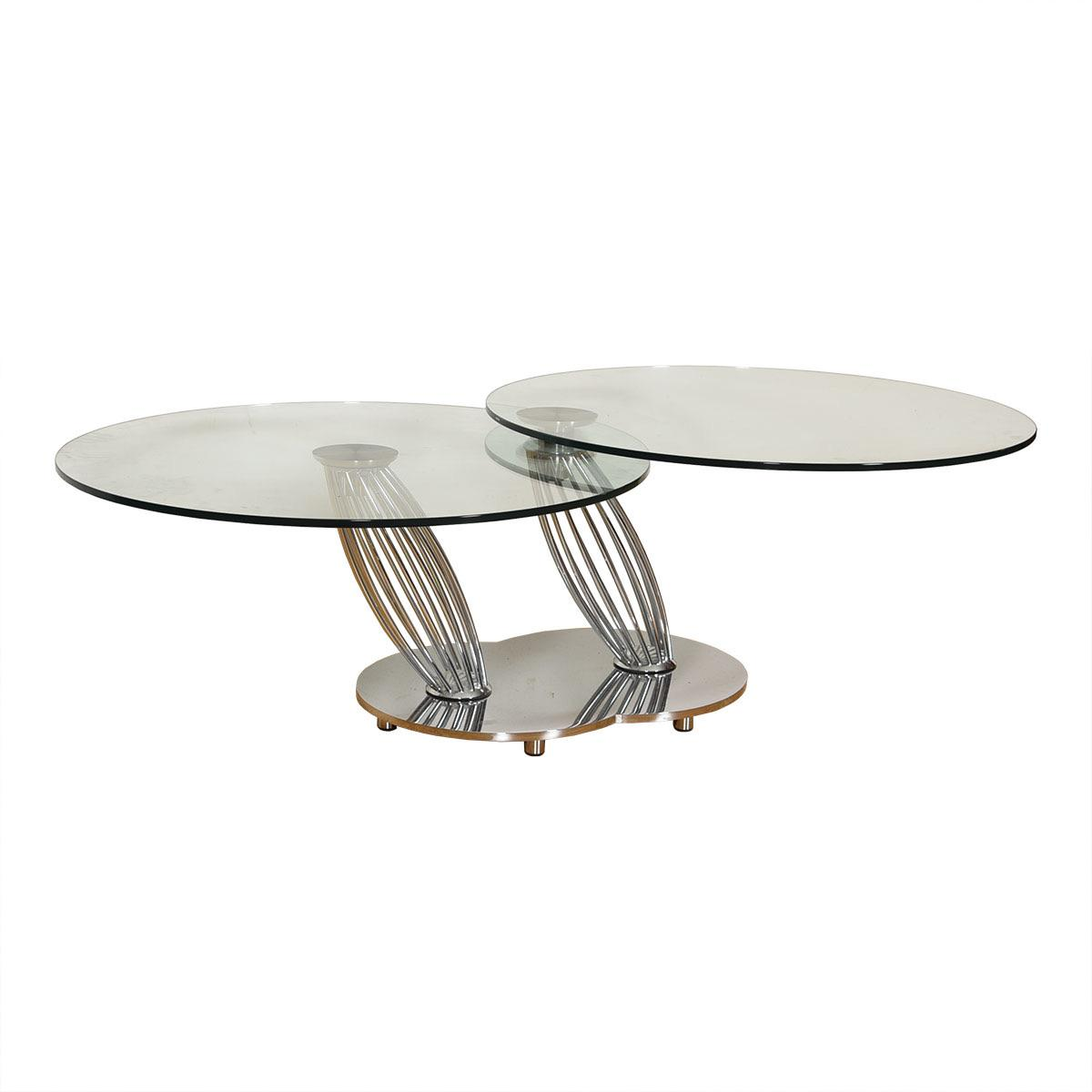 vintage chrome glass rotating double top coffee table