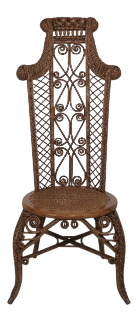 heywood wakefield wicker chairs purple modern chair 1890 s antique high back chairish for sale