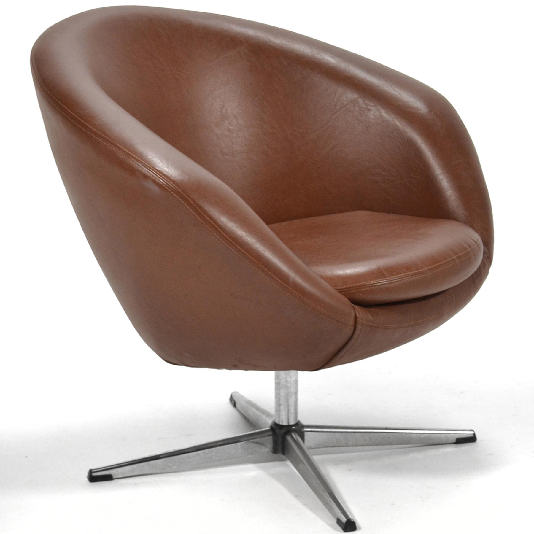 swivel lounge chairs small wingback chair overman brown chairish for sale image 9 of