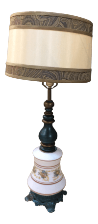 Antique Turquoise Brass Base Table Lamp | Chairish