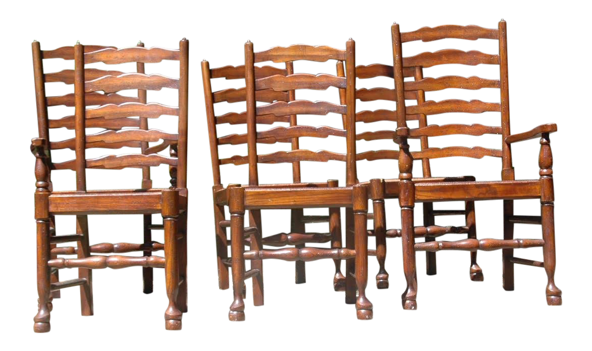 ladder back dining chairs office chair steel base 17th century english baker set of 6 for sale