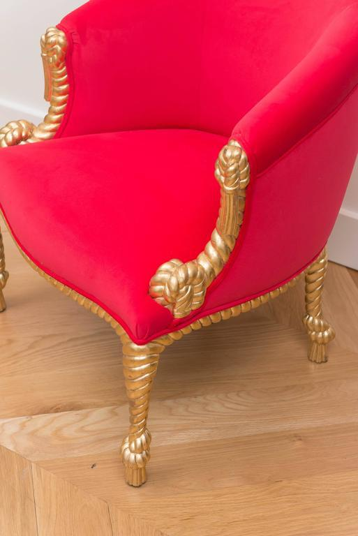 hot pink chair woven leather italian gilt tassel chairish for sale image 4 of 7