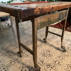 Kitchen Workbench Moen Pull Out Faucet 1940s Industrial Carpenter S Island Chairish This Factory Salvage Piece Is Seriously Cool The Butcher Block Top An Old