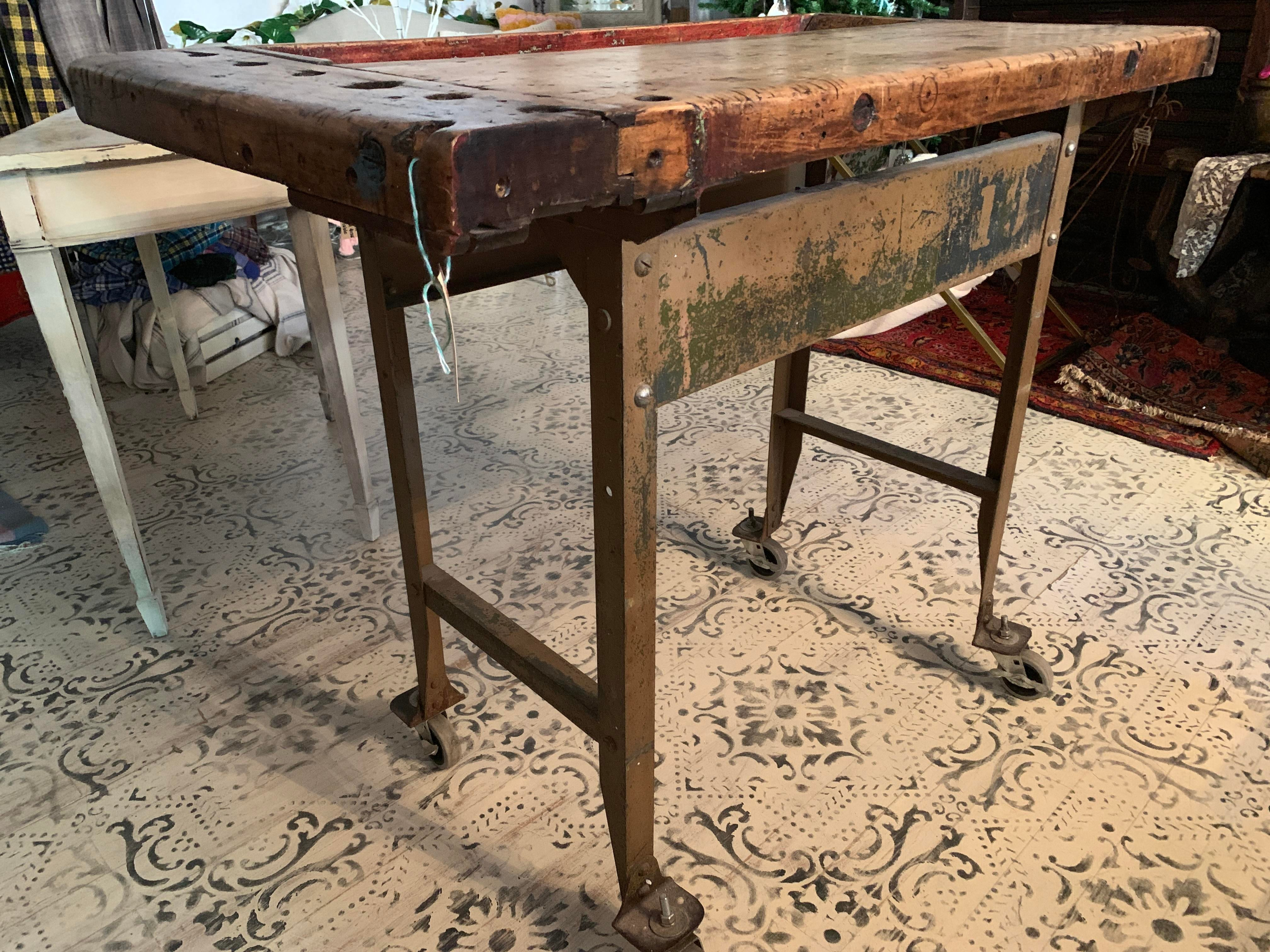 kitchen workbench las vegas strip hotels with 1940s industrial carpenter s island chairish this factory salvage piece is seriously cool the butcher block top an old
