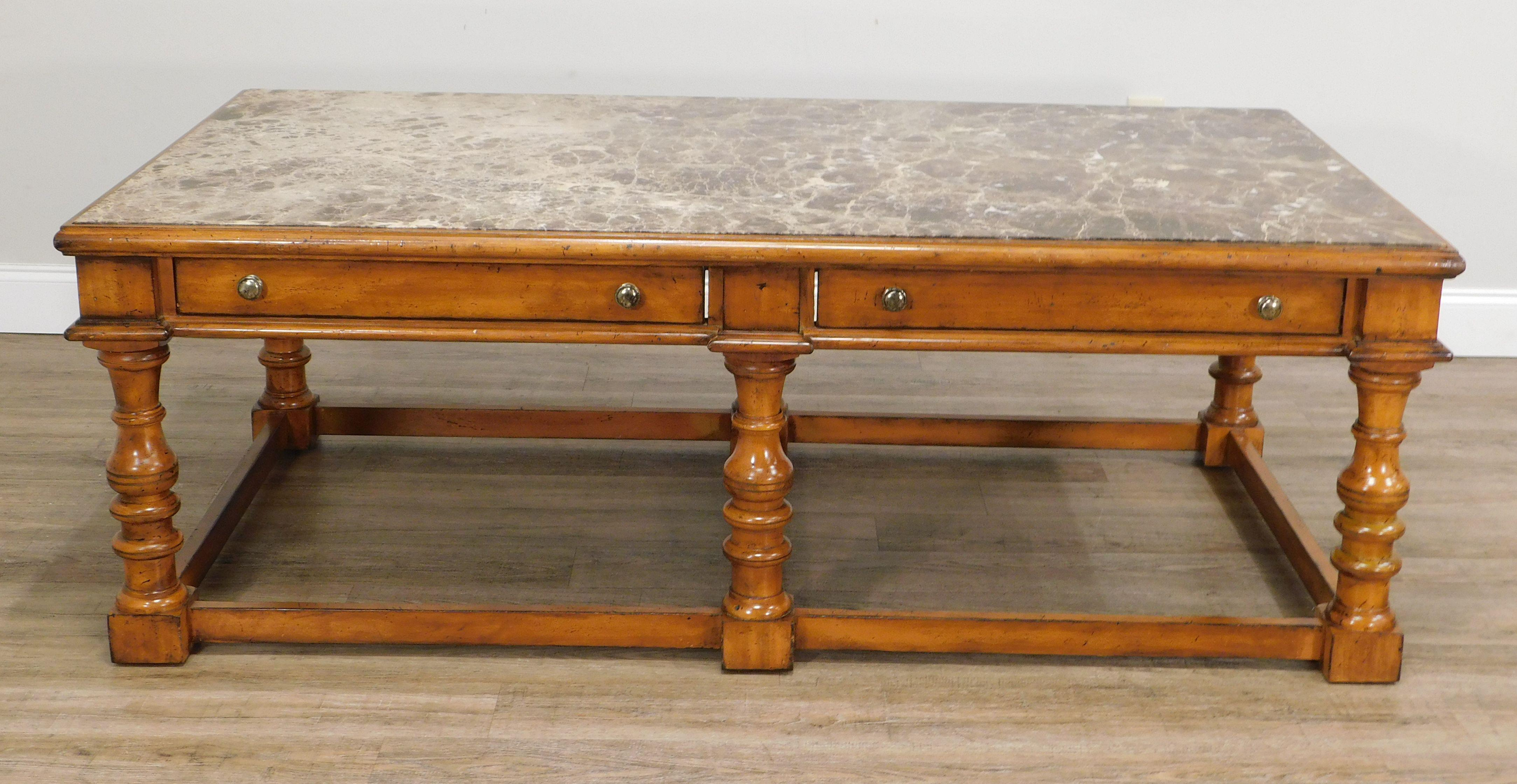 lexington palmer home gentlemen s quarters large marble inlay top cocktail table with drawers