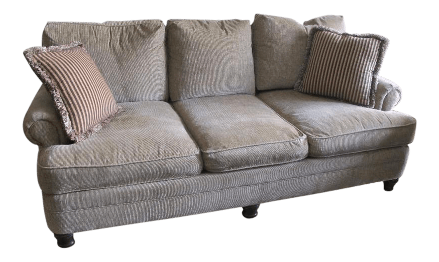 bernhardt sofas queen sofa bed dimensions contemporary patterned tan with matching throw pillows for sale