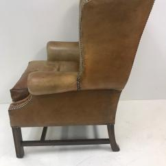 Traditional Leather Wingback Chair Mid Century Modern High End Vintage Decaso English For Sale Image 3 Of 9