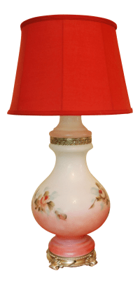 Victorian Style Hand Painted Glass Table Lamp | Chairish