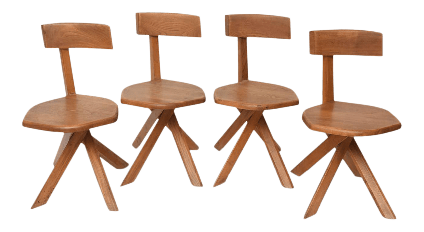 unusual chair legs disposable covers amazon superior set of four french modern oak chairs pierre chapo for sale