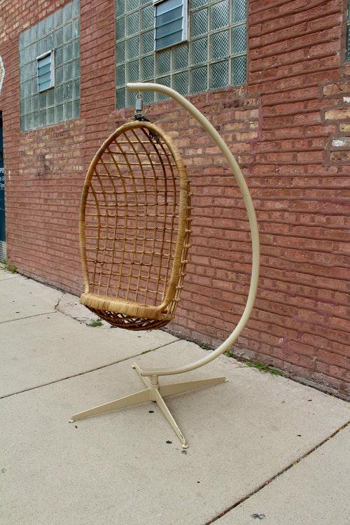 hanging wicker chair folding junior vintage boho egg chairish this is an amazing from the 1970s in excellent