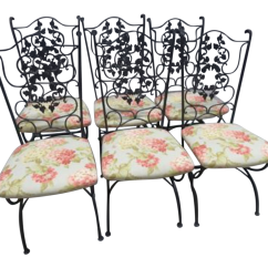 Wrought Iron Dining Chairs Lazy Boy Office Chair Replacement Parts Italian Set Of 6 Chairish