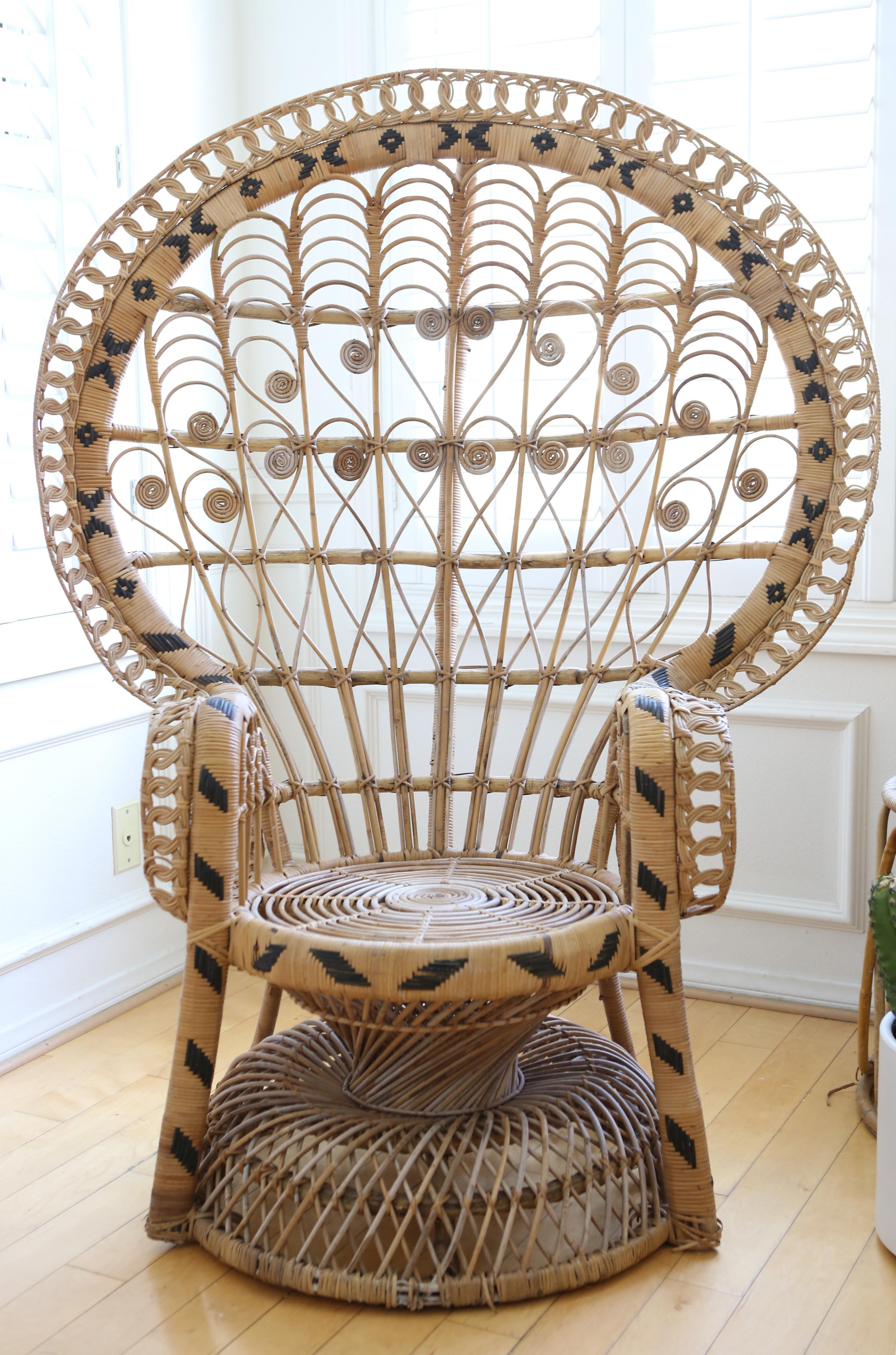 vintage peacock chair jazzy battery rattan and wicker chairish the eye catching design of this gives it an elegant presence no matter