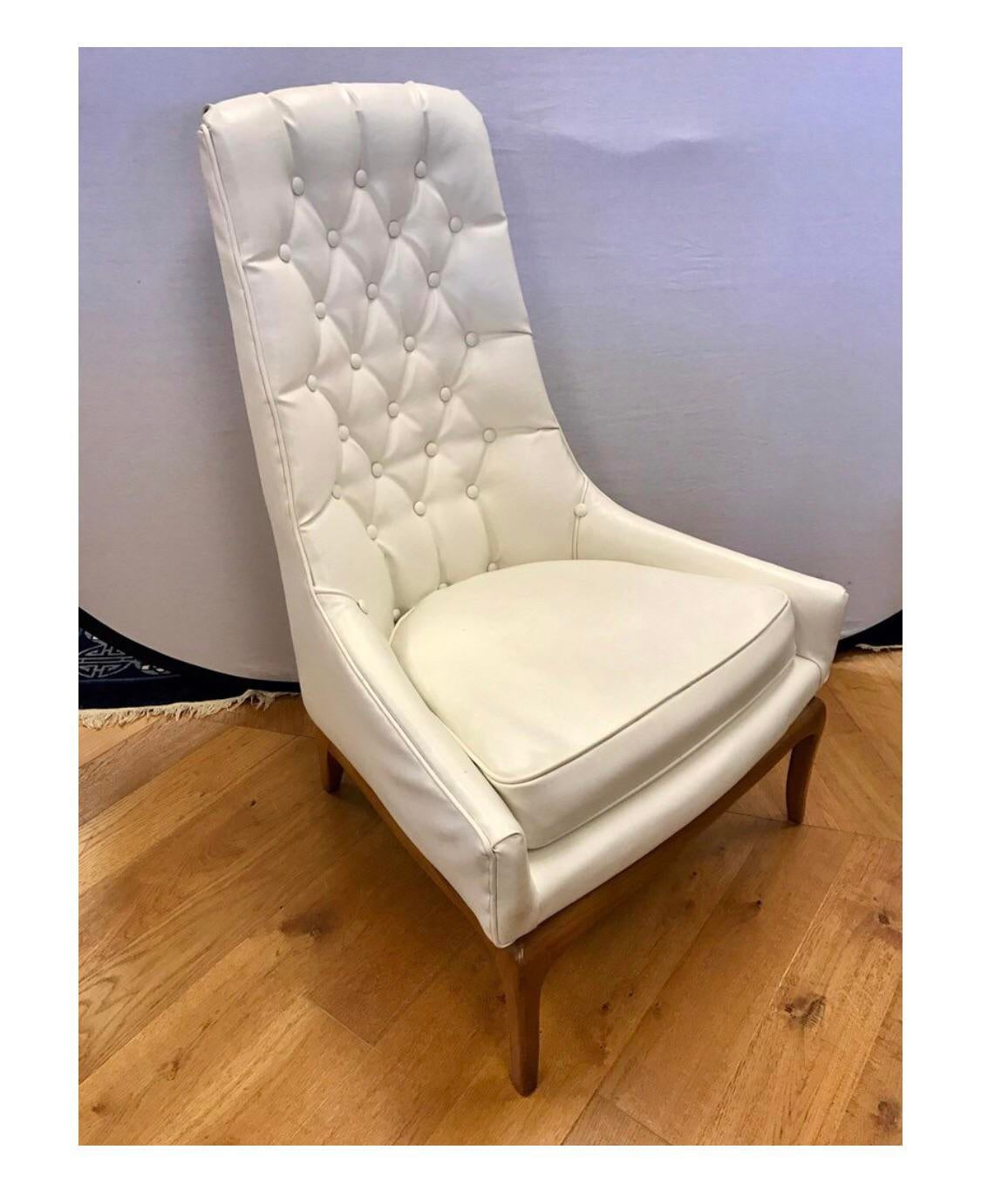 white tufted chairs beach chair cooler backpack superb mid century widdicomb robsjohn gibbings quilted pair of button done in a faux leather that looks like the