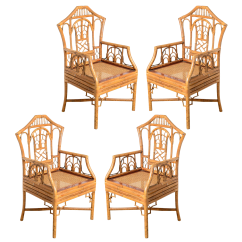 Chairs Images Thick Carpet Chair Mat Vintage Used Dining For Sale Chairish Pagoda Bamboo Cane Seat A Set Of 4