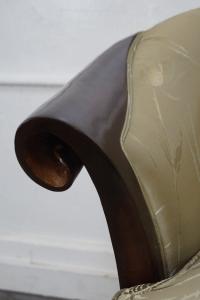 Modern Regency Mahogany Barrel Back Chair | Chairish