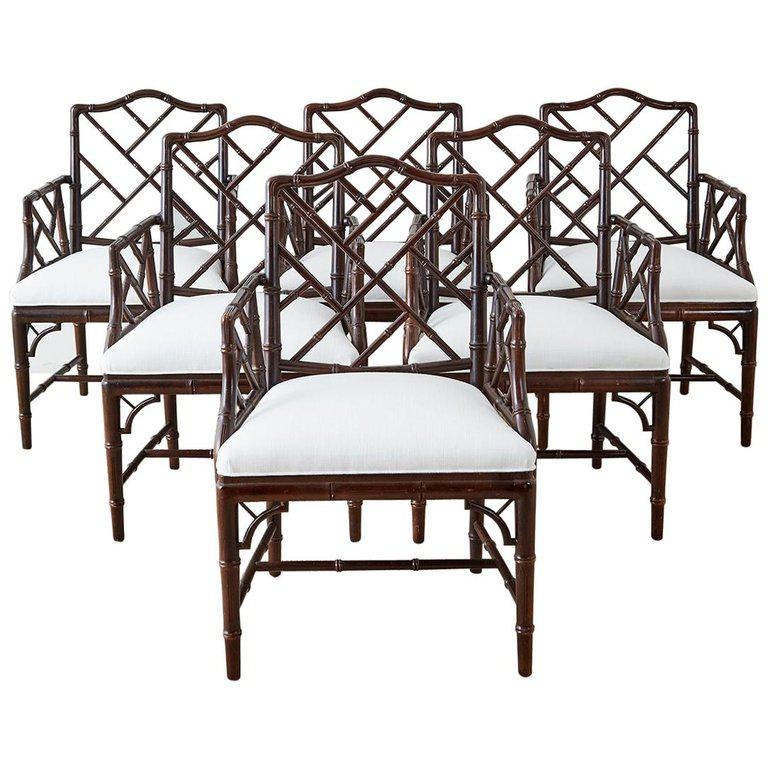 bamboo dining chair covers amazon uk chinese chippendale chocolate lacquered faux chairs for sale image 13 of