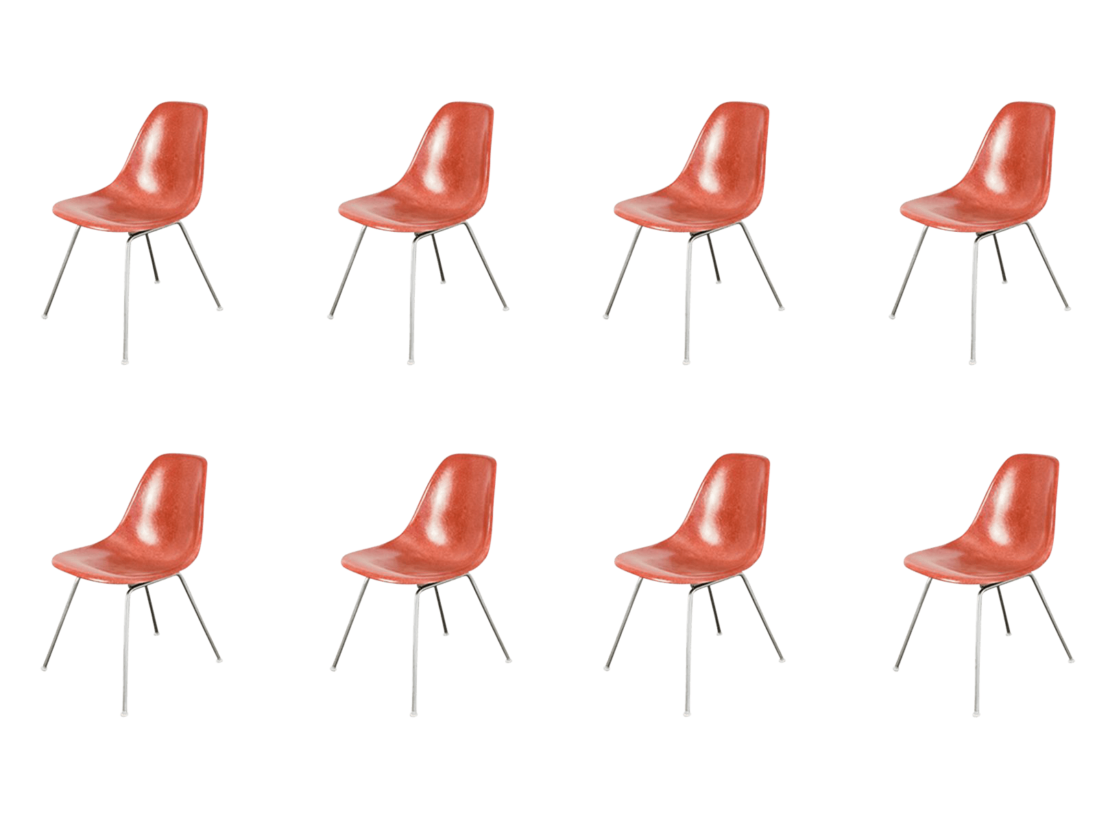 fiberglass shell chair folding travel high end 1960s eames terracotta decaso image 1 of 10