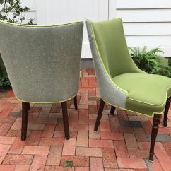 Green Upholstered Dining Chairs Electric Chair Prop Vintage Apple A Pair Chairish For Sale Image 4 Of 10