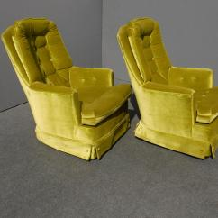 Green Velvet Swivel Chair Tv Remote Holder For Mid Century Modern Tufted Chairs A Pair Chairish Sale Image 5