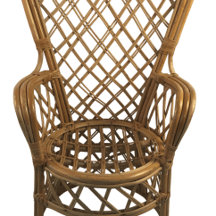 Fan Back Wicker Chair Swing Outdoors 1960s Boho Chic Rattan Chairish