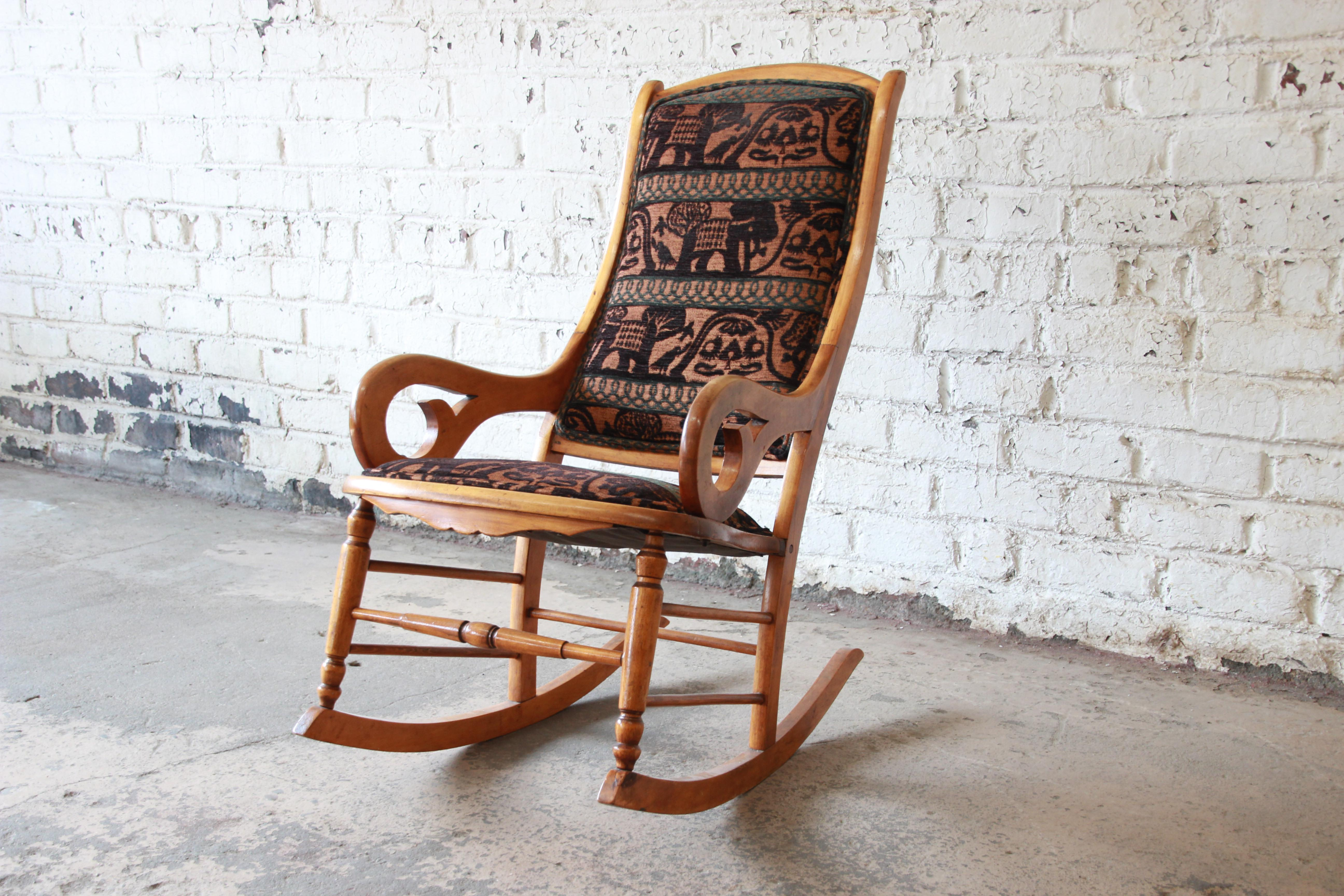 animal rocking chair lowe s canada outdoor chairs antique maple reupholstered in modern motif print for sale image 10 of