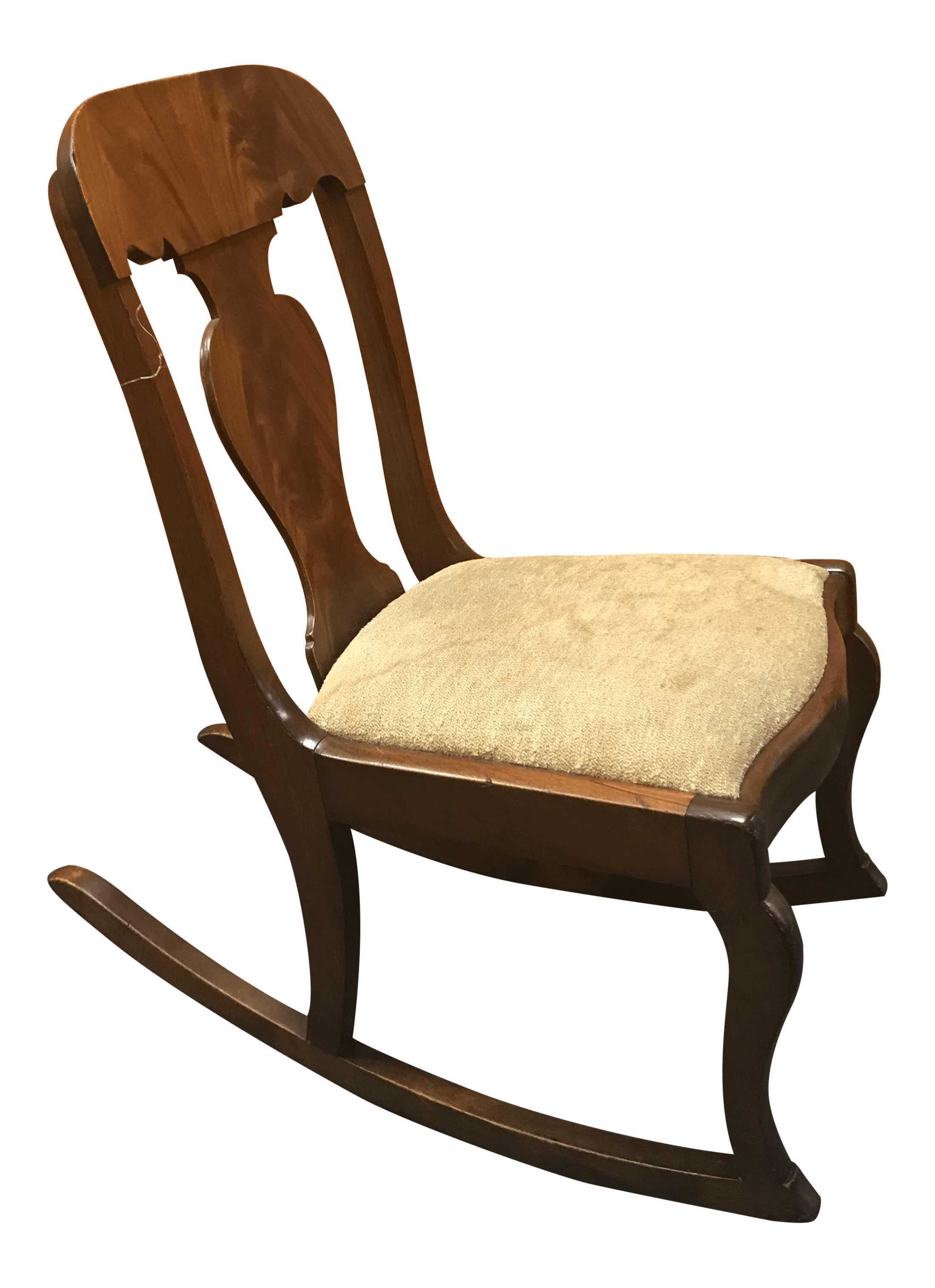 small rocking chairs bubble style inflatable chair victorian wood with beige taupe padding armless for sale