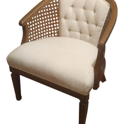 Mid Century Cane Barrel Chair Zero Gravity Lounge Modern White Caned Chairish For Sale
