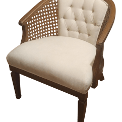 Mid Century Modern Cane Barrel Chairs Upright Posture Chair White Caned Chairish For Sale