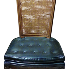 Cane Back Chairs For Sale Folding Padded Seat And 20th C Vintage French Provincial Black Vinyl High A Pair