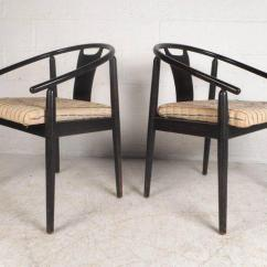 Mid Century Barrel Dining Chair Vibrating Baby Bouncer Modern Back Side Chairs A Pair Chairish Amazing Of Vintage With Sloping Arm Rests And Black Painted Wood