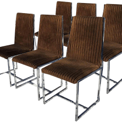 Wooden Restaurant Chairs With Arms Leather Chair And A Half Sleeper Vintage Used Dining For Sale Chairish 1970s Mid Century Modern Milo Baughman Style Set Of 6