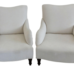 White Upholstered Chairs Low Outdoor English Style Club Apair Chairish For Sale
