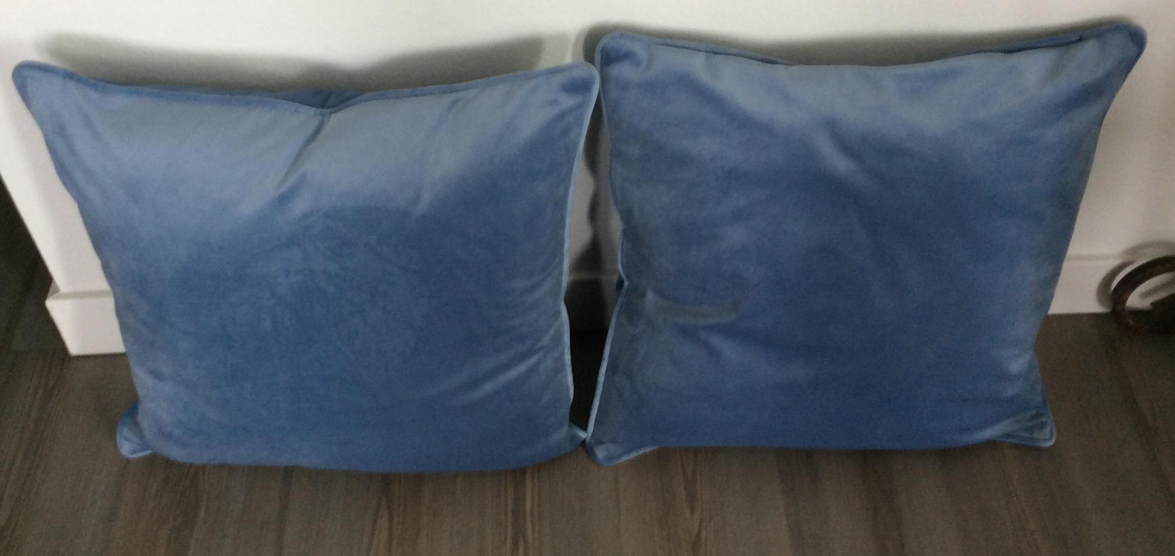 contemporary italian light blue velvet pillows a pair