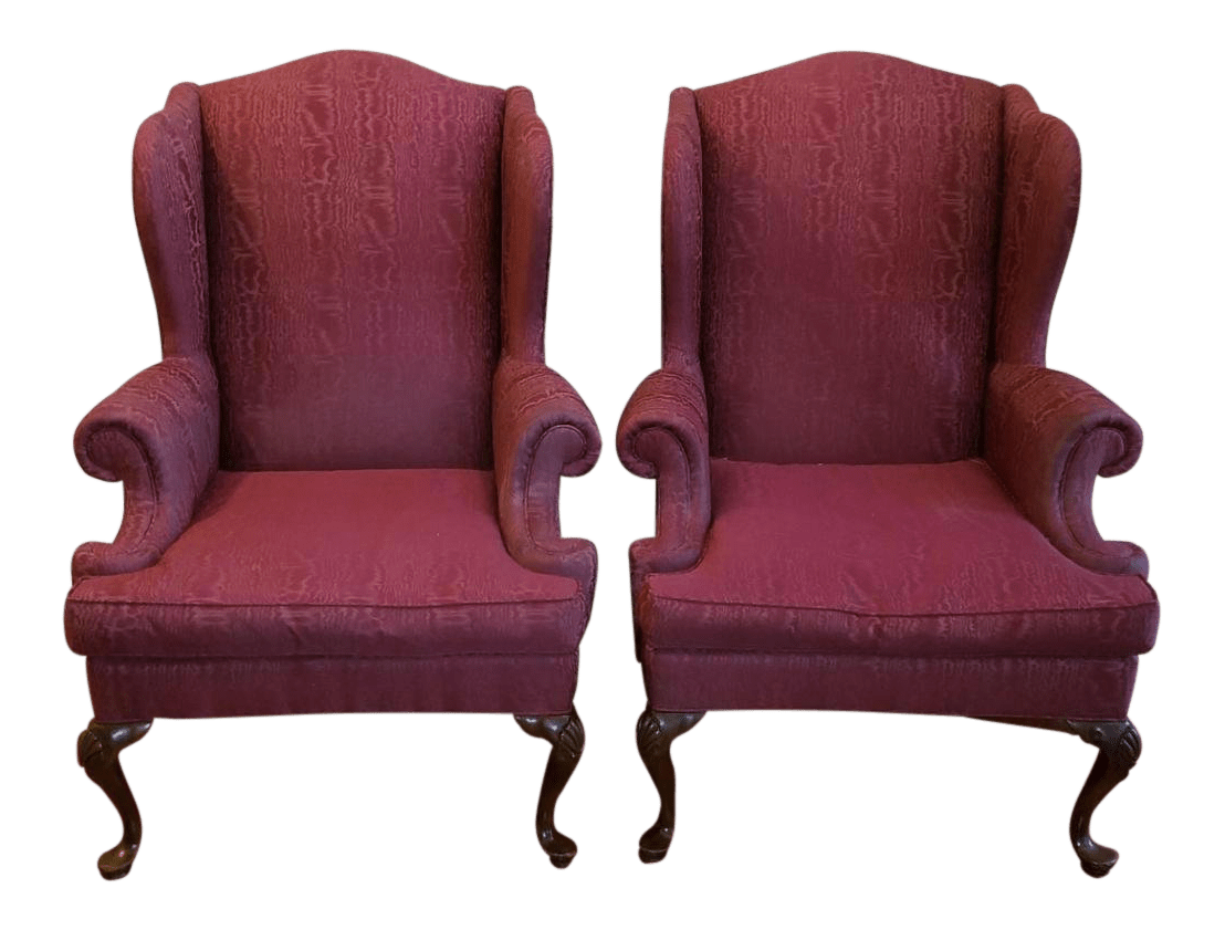 queen ann chairs alera elusion chair manual vintage used anne wingback chairish henredon burgundy a pair