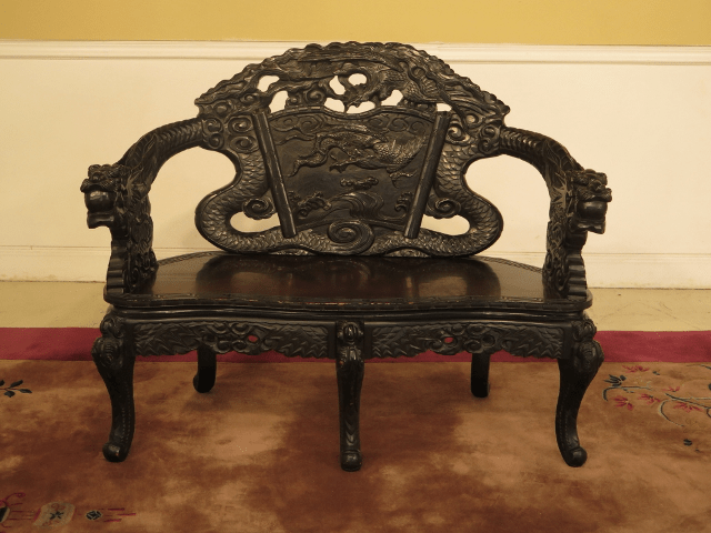 antique chinese dragon chair under tray table carved settee bench chairish item f43352c age approx 80