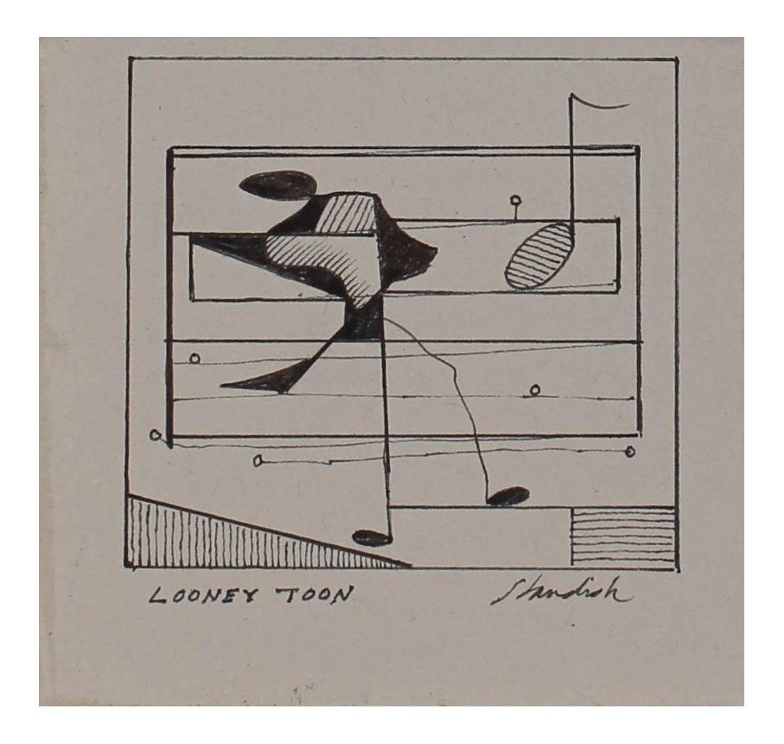 small resolution of  looney toon petite monochromatic musical abstract in ink 20th century chairish
