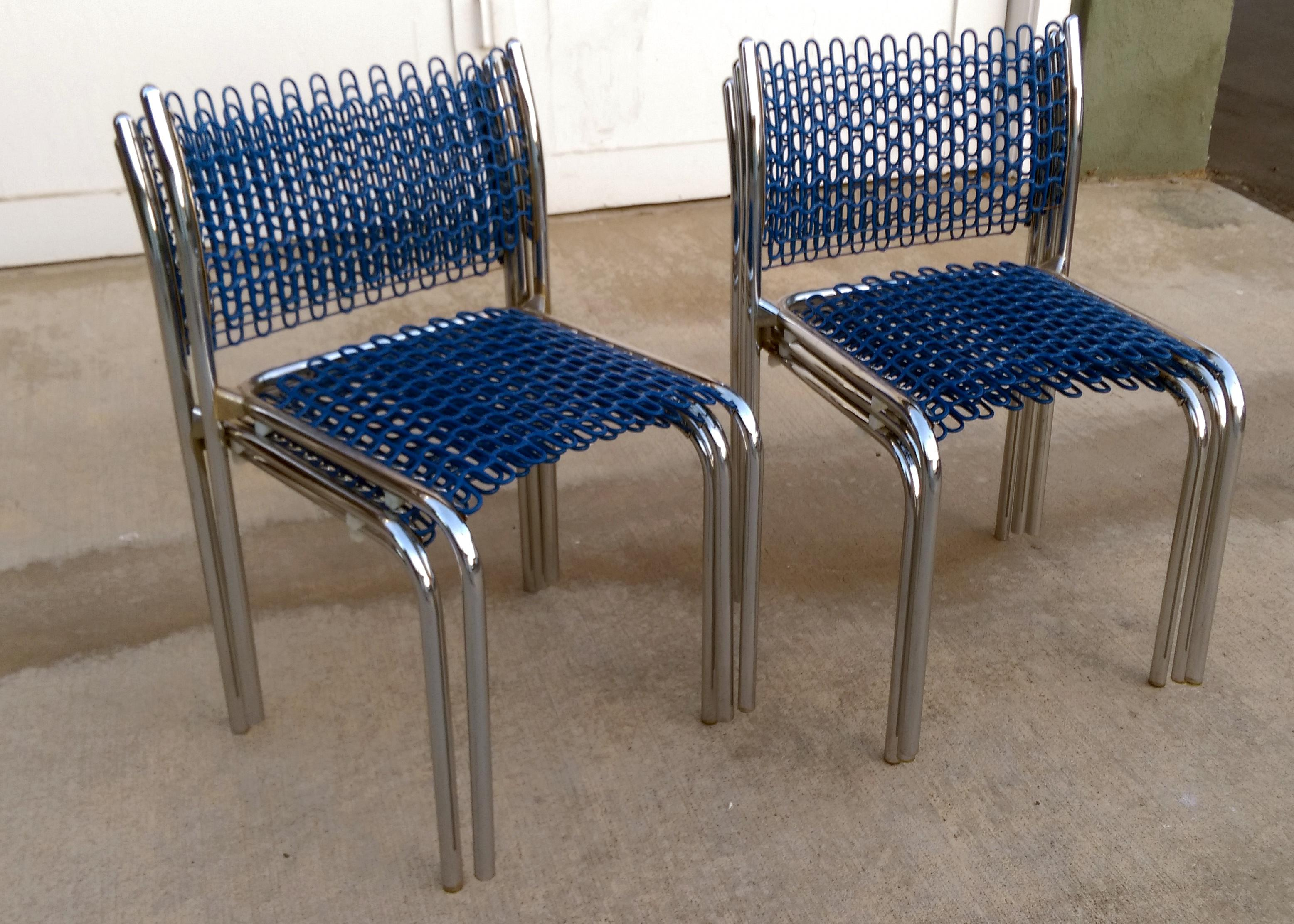david rowland metal chair recliner parts thonet sof tech side chairs by set of 6 chairish for sale