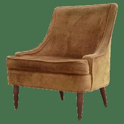 Brown Slipper Chair Backpack Beach Costco 1950s Vintage Mid Century Velvet Chairish For Sale