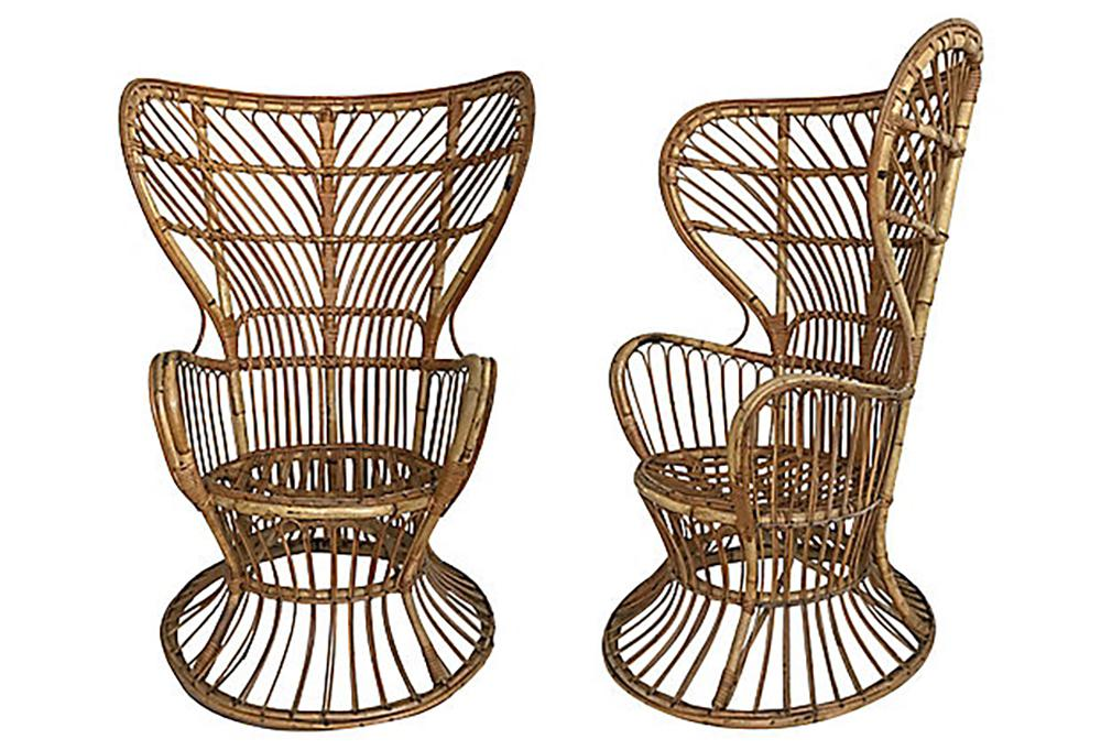 rattan wingback chairs saddle chair benefits italian mid century modern chairish for sale image 3 of 9