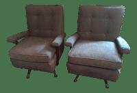 Mid Century Modern Swivel Rocker Chairs - Pair | Chairish