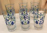 Mid-Century Modern Green & Blue Flower Motif Glasses - 6 ...