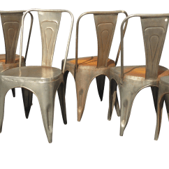 Rustic Metal Dining Chairs Control Room Operator Vintage Industrial Style Set Of 6 Chairish