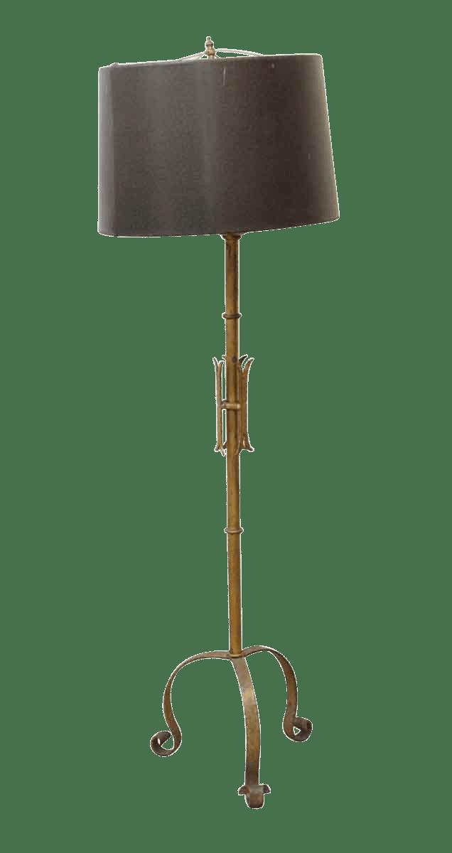 Wrought Iron Floor Lamp With Black Shade Chairish