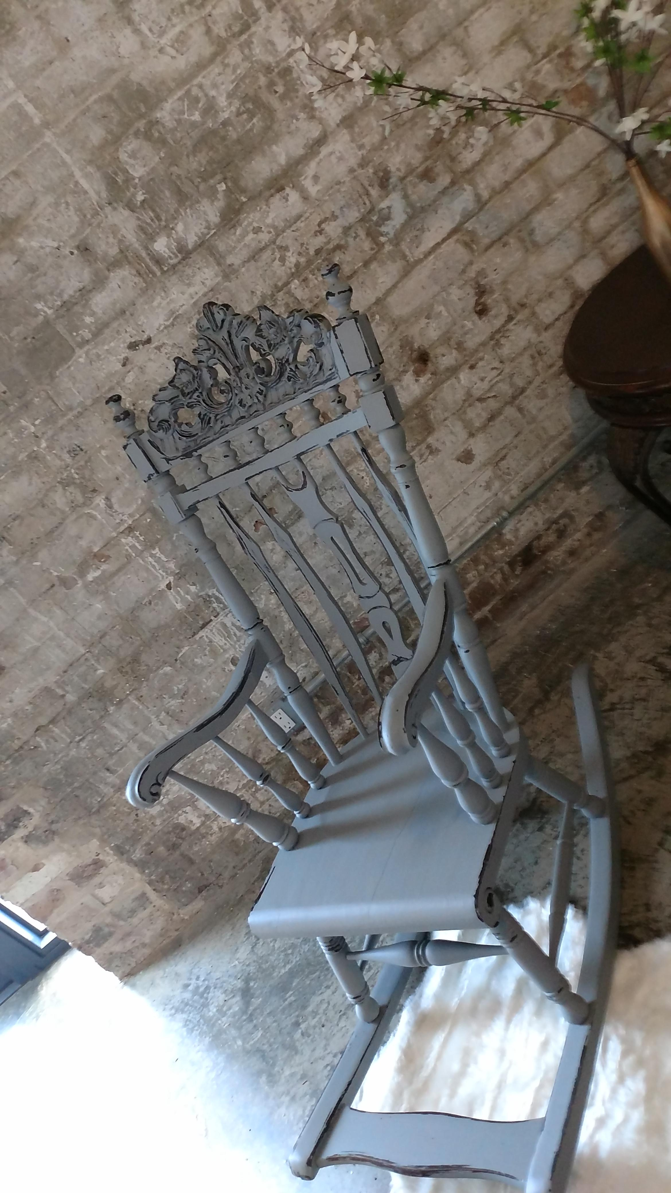 rocking chairs for nursery under 100 macrame lawn chair patterns antique with footrest | chairish