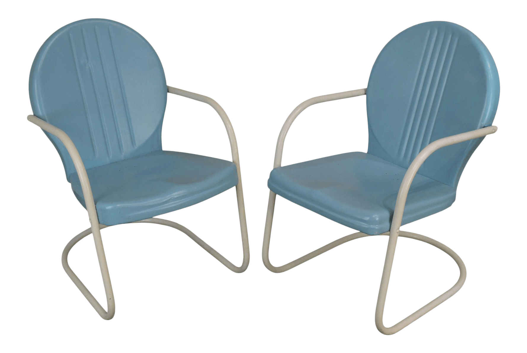 art deco style 1940 s vintage pair metal patio lawn chairs