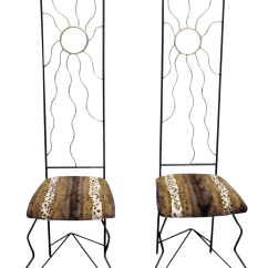 Tall Back Chairs Wedding Chair Covers Hire Huddersfield Mid Century With Animal Print Seats A Pair Chairish