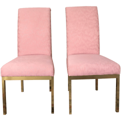Gold Dining Chairs Folding Table And For Kids Vintage Used Chairish Hollywood Regency Pink Upholstered Set Of 4